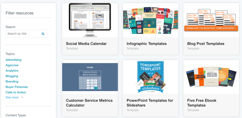 Free downloads from Hubspot