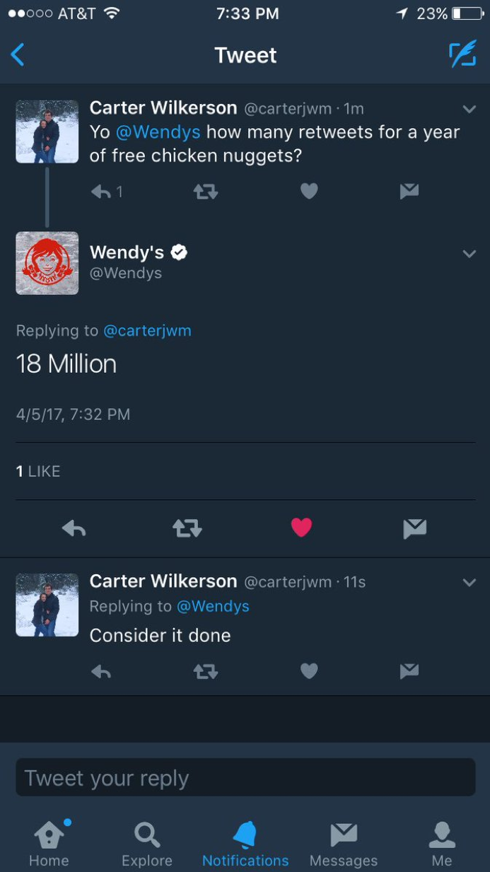 Community management by Wendy's brand