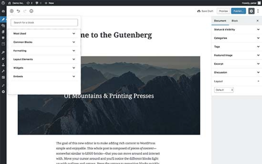 editor on WordPress
