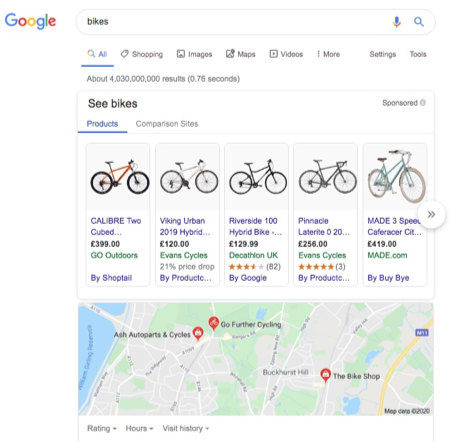 Google results page example
