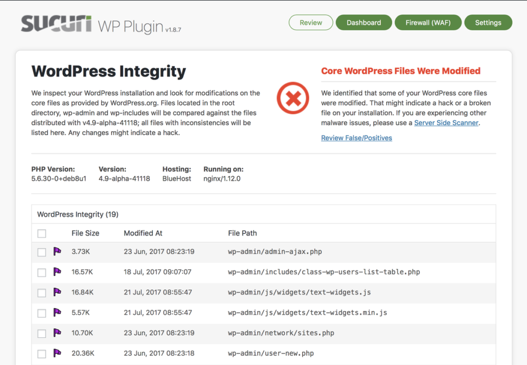 Sucuri plugin for WordPress