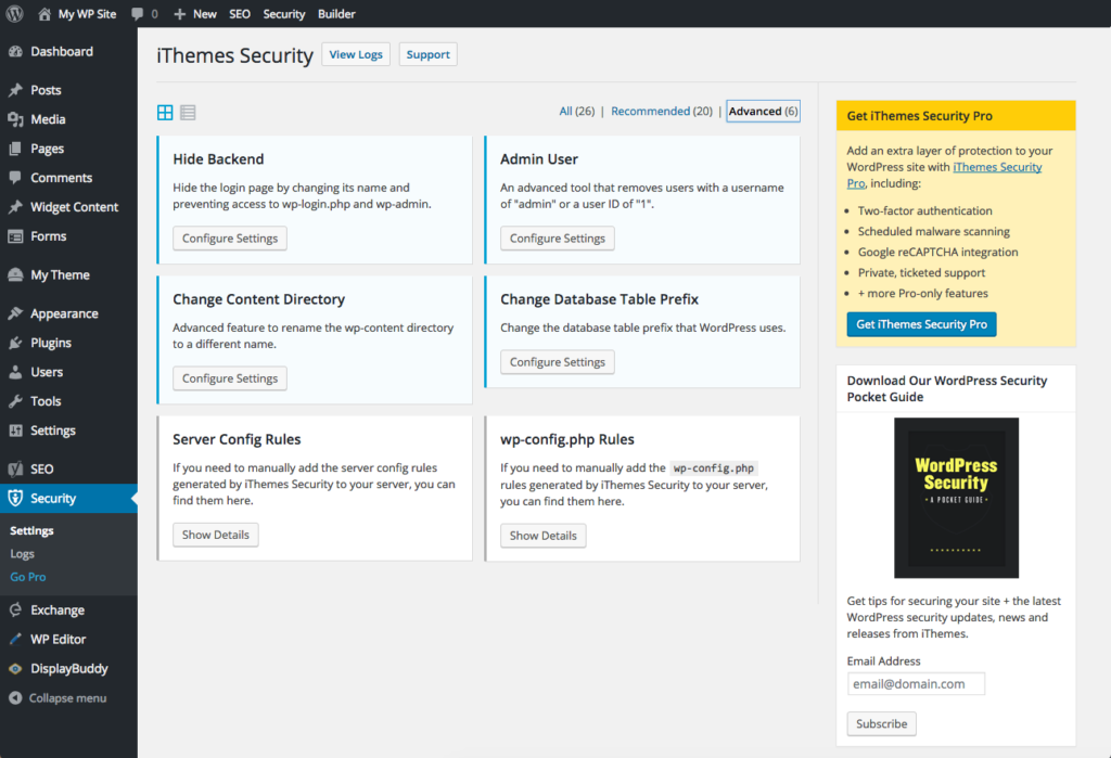 iThemes security for WordPress