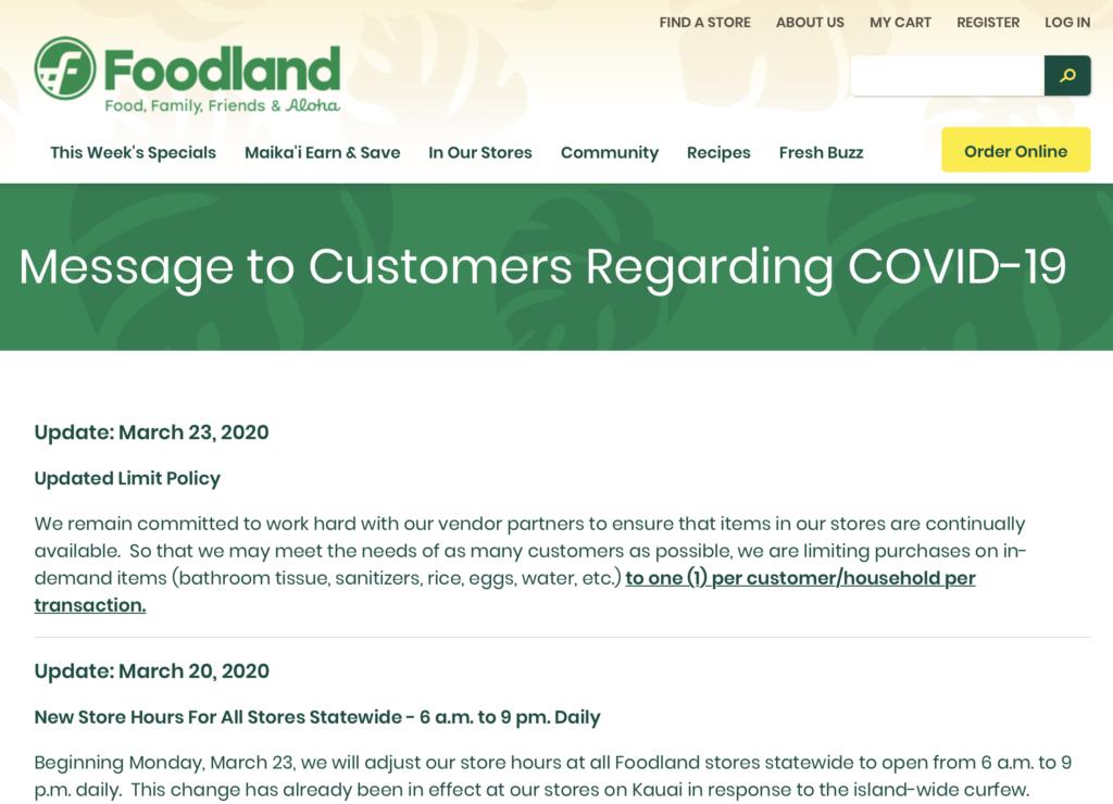 Foodland coronavirus response