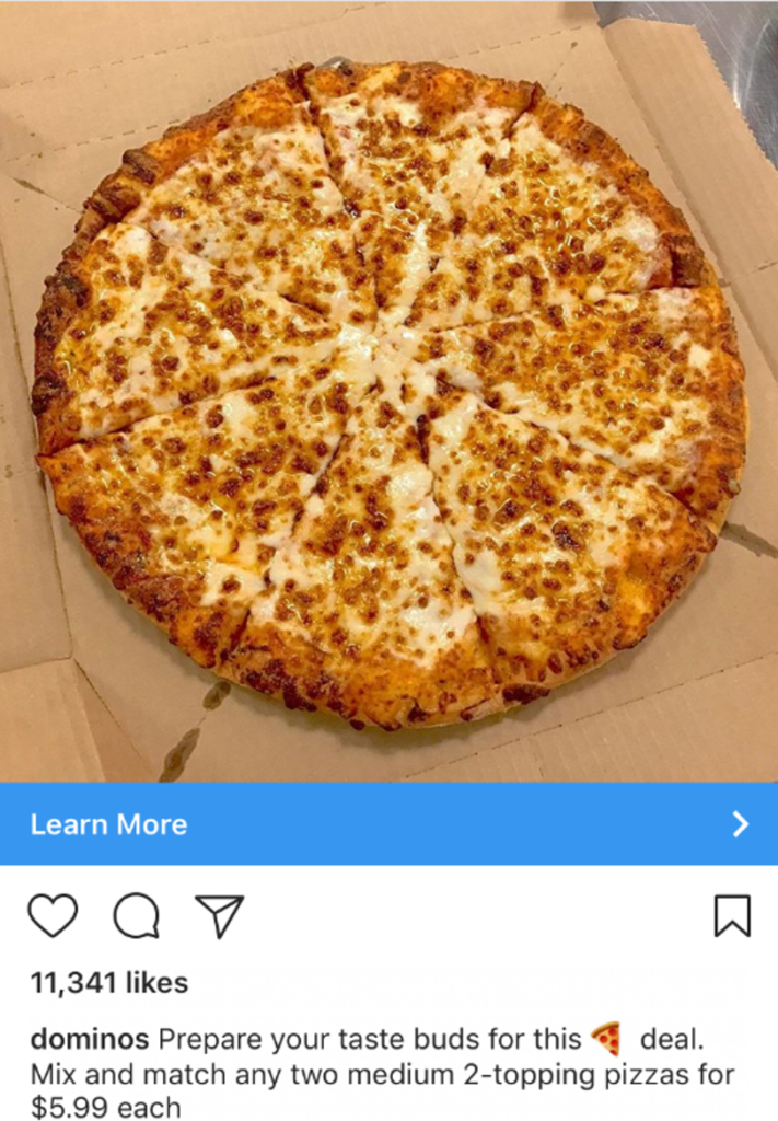 Domino's pizza Facebook ads