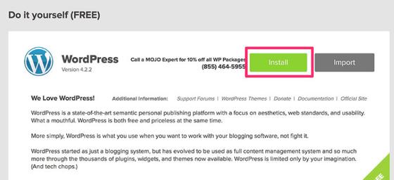 Steps to install WordPress