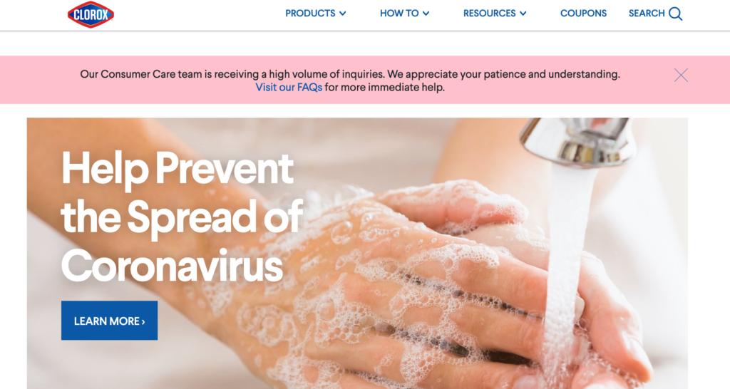 Image: Clorox Coronavirus Response Landing Page