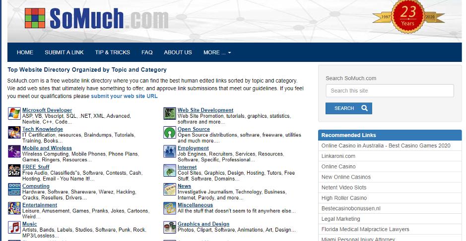 example of website directory site