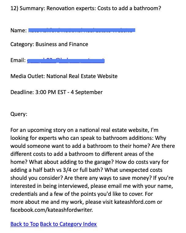 HARO journalist request example
