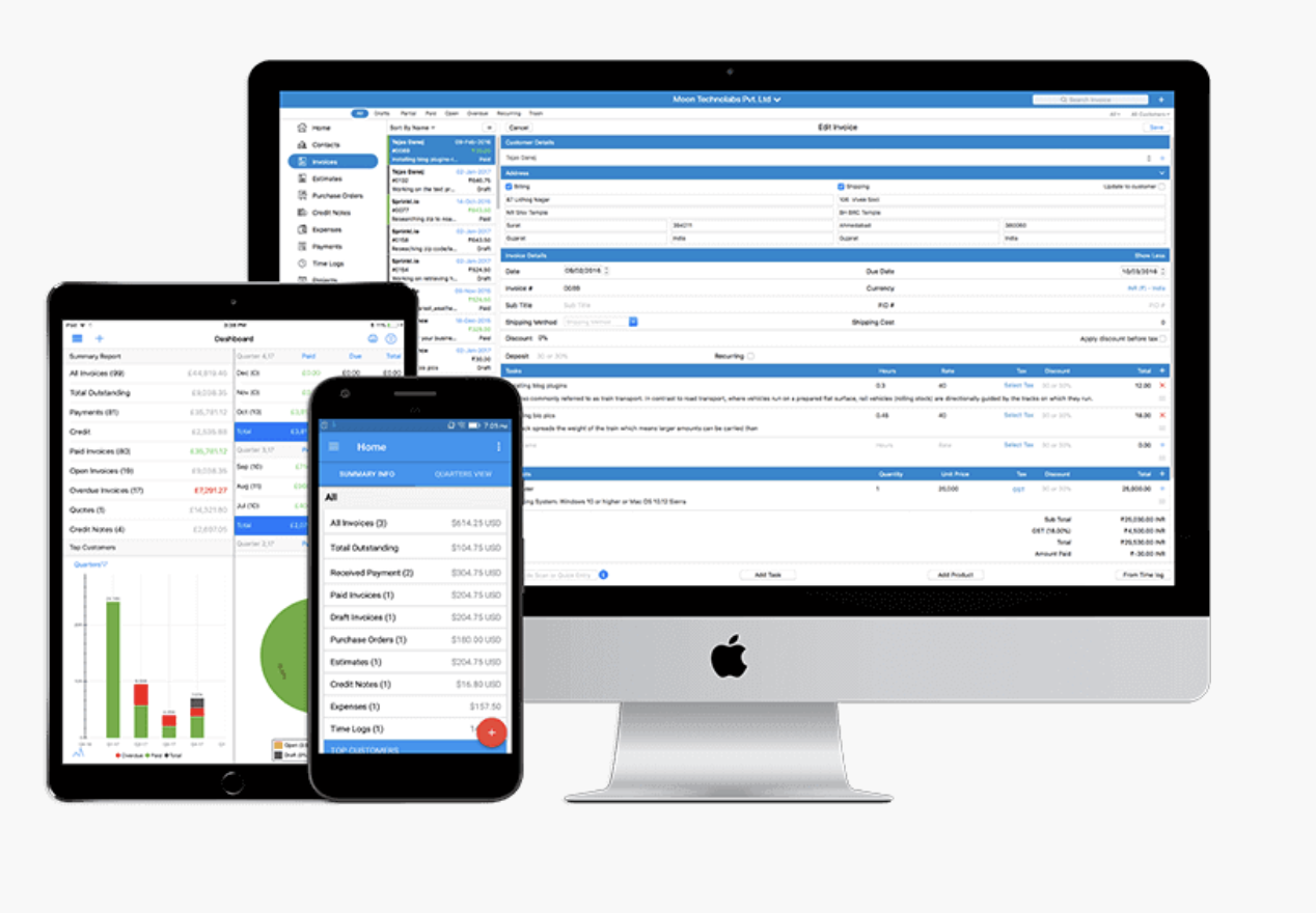 Moon Invoice time and expense tracking tool