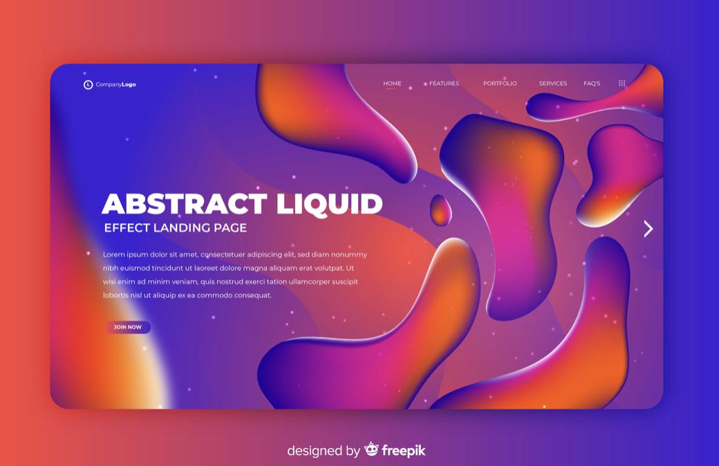 Graphic design liquid effect