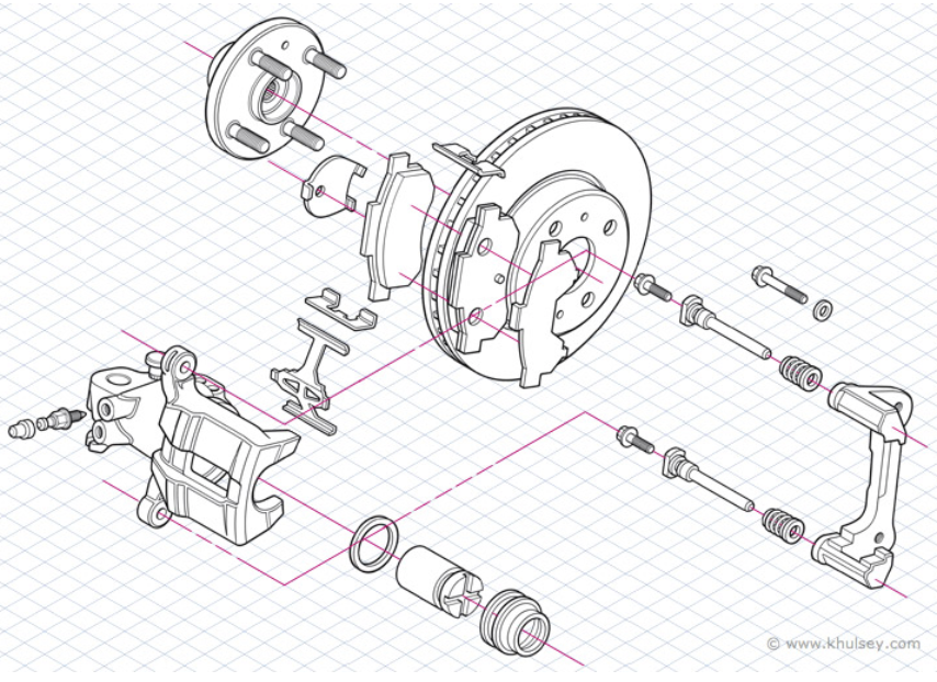 Isometric illustration showing parts of a machine