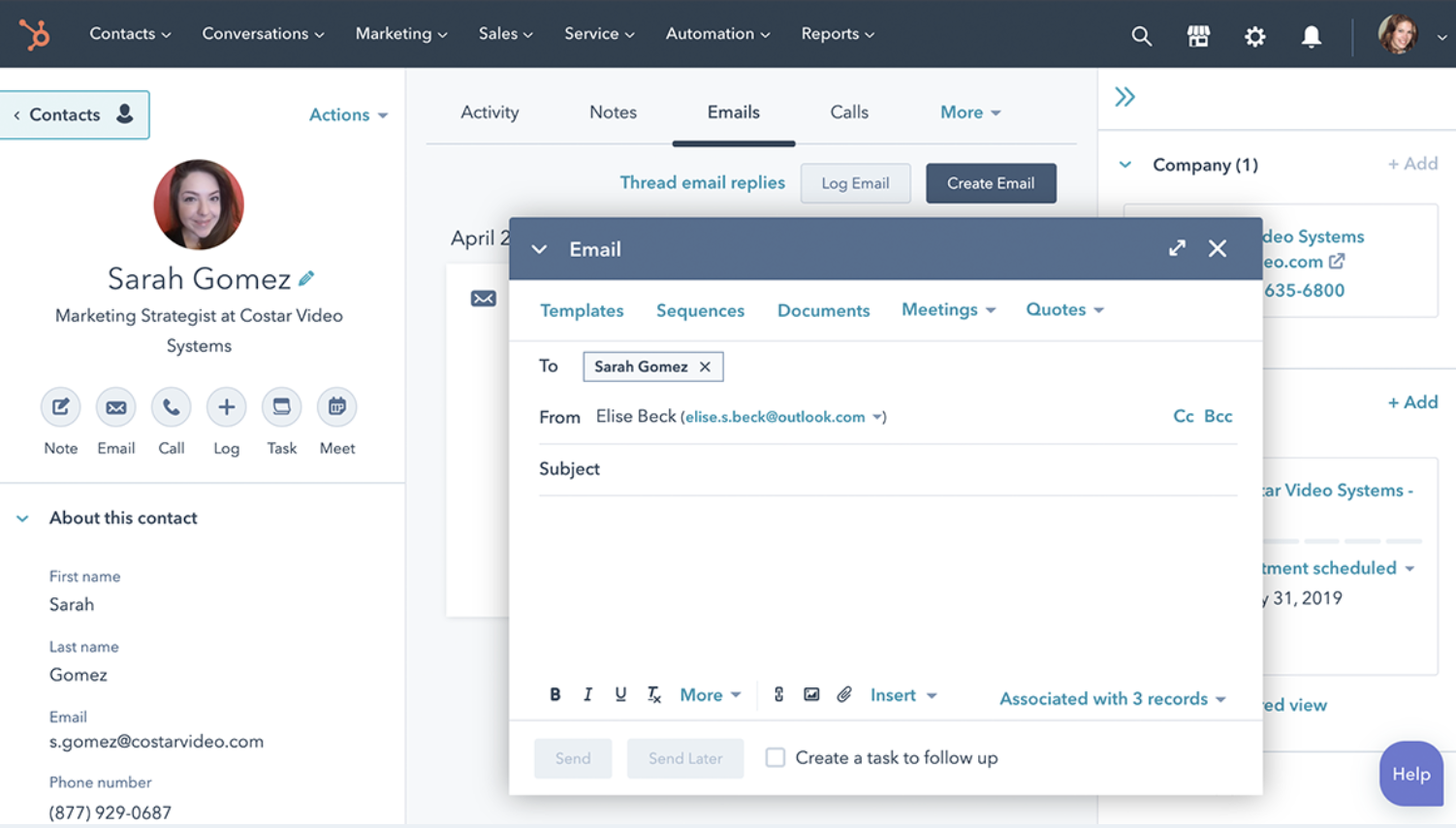 Email HubSpot contacts directly from the platform