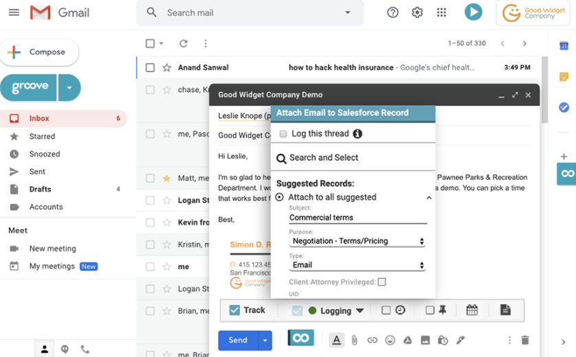 Email sync via Groove